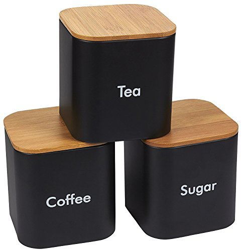 Kitchen Canister Set - 3-Piece Coffee, Sugar, and Tea Storage Container Jars with Bamboo Lids