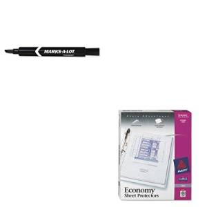KITAVE08888AVE75091 - Value Kit - Avery Top-Load Poly Three-Hole Sheet Protectors (AVE75091) and Marks-a-lot Permanent Marker (AVE08888)