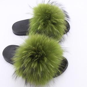 46c7e34a5e4 Cute Long hair raccoon fur slipper Indoor Shoes Cute Ladies Real Fur Slides  Slippers