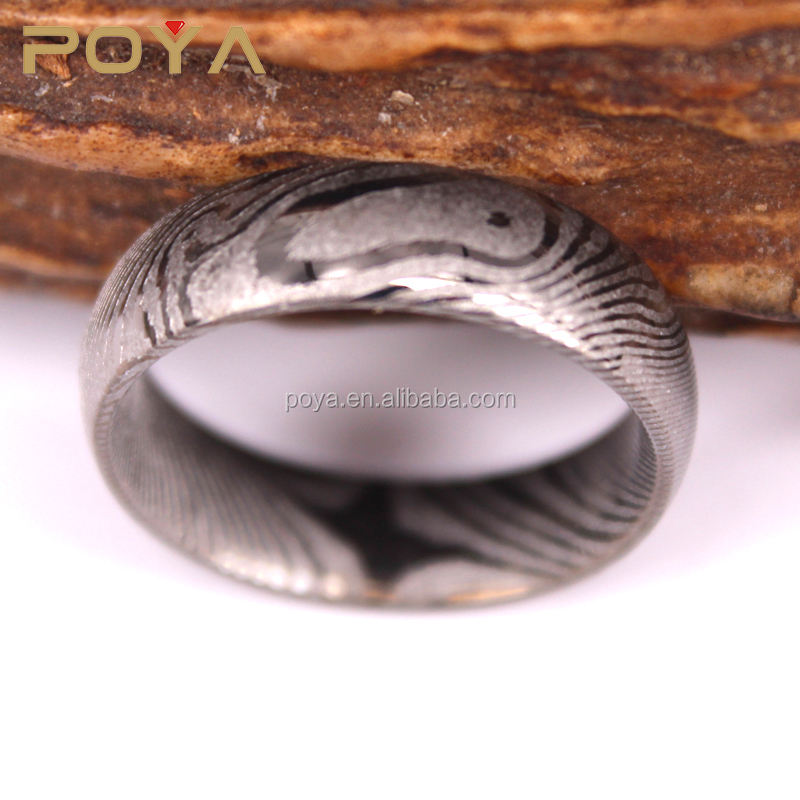 POYA Jewelry 6mm Damascus Steel Ring Plated Gun Color,Fashion Damascus Steel Ring