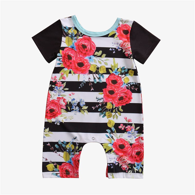 Baby Clothes Cotton Baby Girl Clothes 2017 Summer Infant Girl Striped Jumpsuits Kids Costume For Newborn Baby Girl Romper