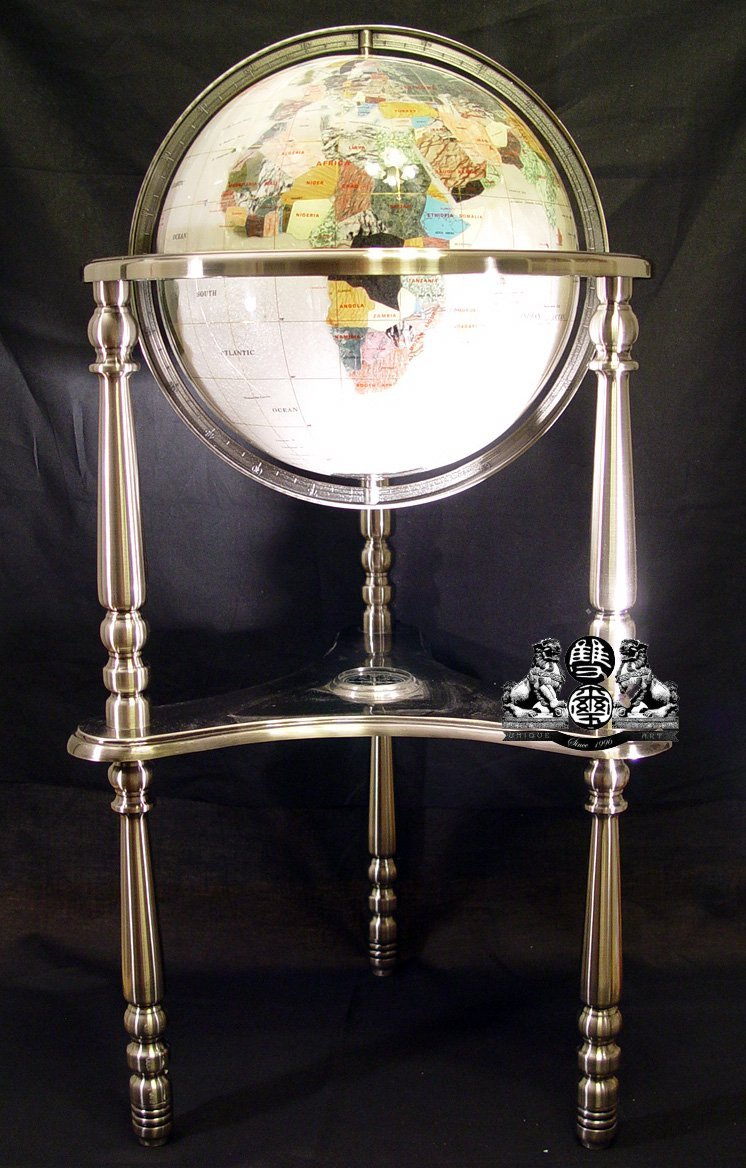 """Unique Art Since 1996 Collector's Edition 37"""" Tall Mother of Pearl Ocean Compass Tripod 3 Heavy A Silver leg Floor Stand Gem Gemstone World Map Globe Globes Maps"""