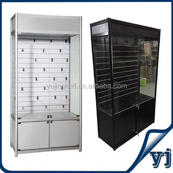 Slat Wall Design Showcase Display Lighted Aluminium Glass Display Case