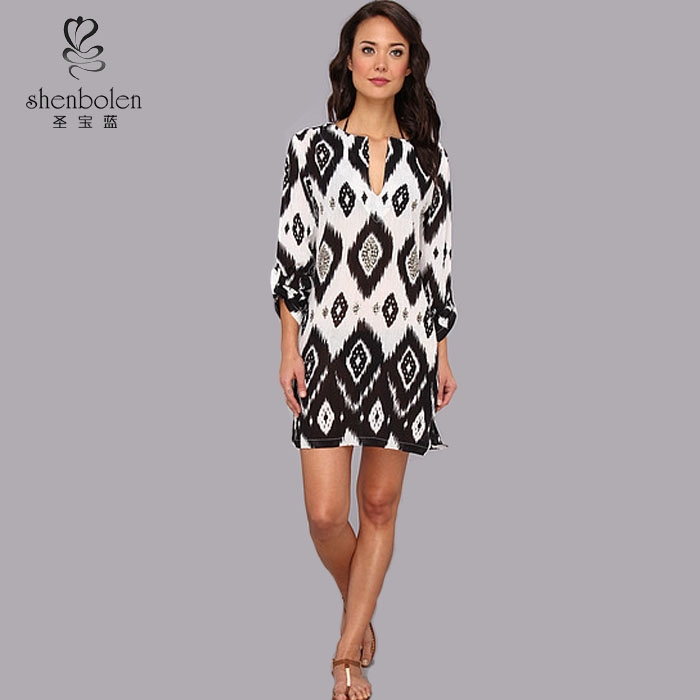Sequined women Tunic dresses 3/4 sleeve fall design moro moroccan tunic Ikat print throughout.