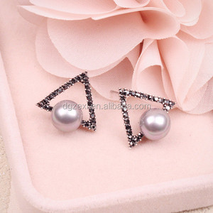 Artificial Pearl Decoration Fashion Girls Diamond Earrings