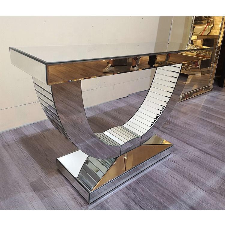 새로운 디자인 실버 현대 럭셔리 다이아몬드 미러 복도 콘솔 테이블 미러