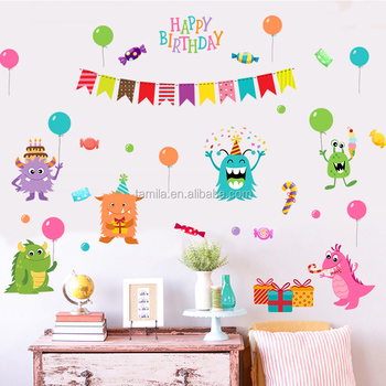 Kids Cartoon Happy Birthday Wall Decal Stickers For Room Decoration
