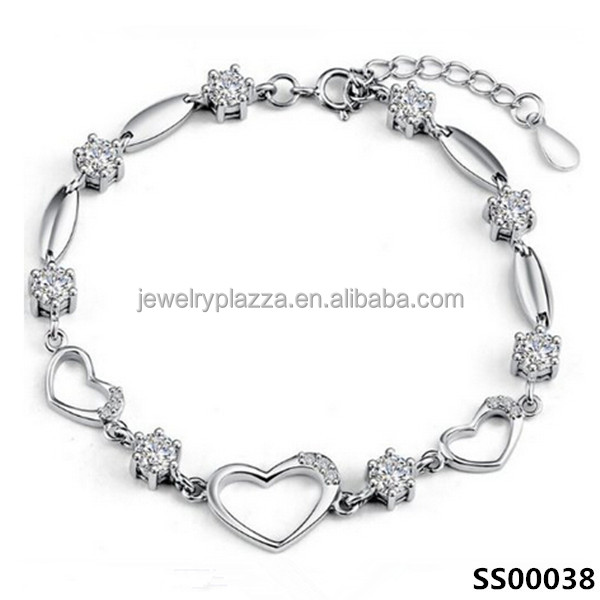latest design sterling silver bracelet women cz crystal