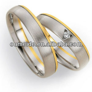 OEM 18k gold plated dummy brass jewelry western engagement wedding bands couples rings sets