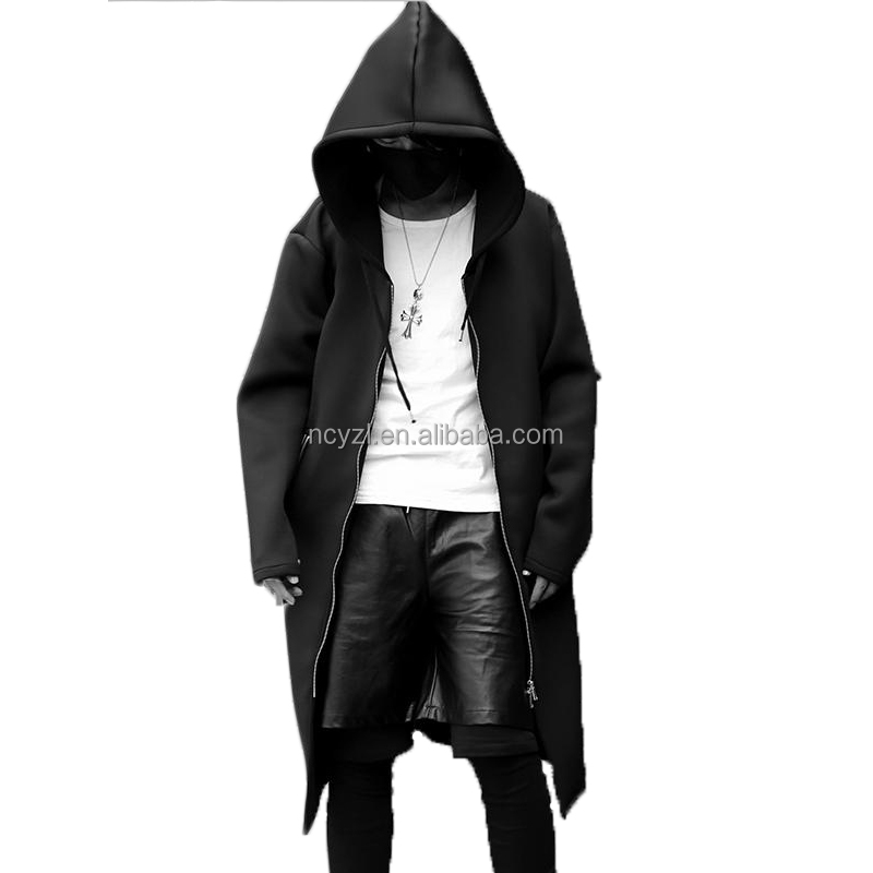 2017 new design space cotton fashion street cool black men long full zip hoodie mens