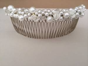 1928 Jewelry Bridal Hair Comb with Porcelain Flowers and Faux Pearls