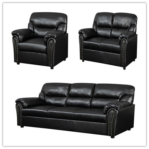 Black Leather+pvc 3+2+1 Sofa On Sale Cheap Leather Sofas Factory Prices -  Buy The Leather Factory Sofa,2 Seater Black Leather Sofa,Cheap Living Room  ...