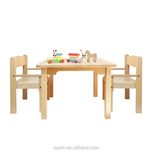 Children's Furniture Solid Beech Wood kids table and chair set of 3 Natural Varnish used kids table and chairs