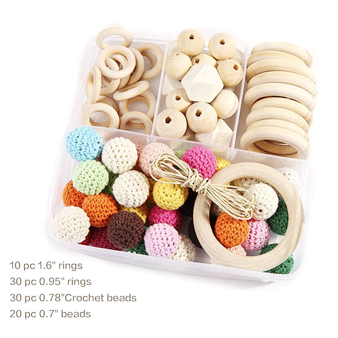 Natural Wooden Rings and Wooden Crochet Set DIY Nursing Necklace Teething Necklace Set Eco Baby Teether New Baby Accessories Nursing