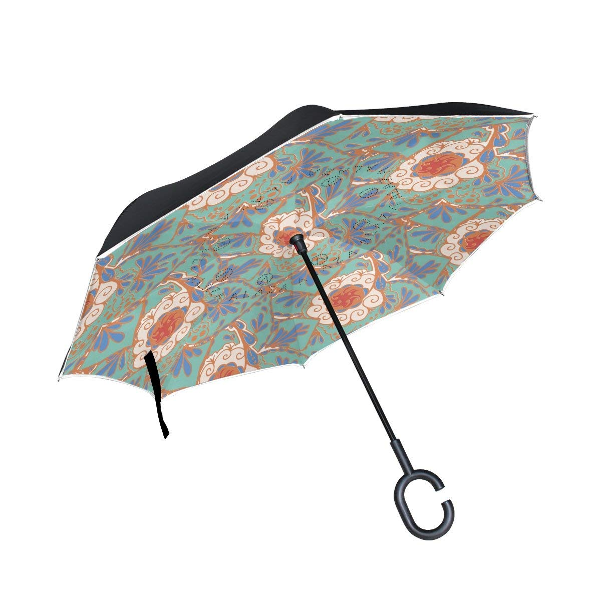 ALAZA Double Layer Inverted Reverse Umbrella Colorful Floral Windproof Car Rain C-shapped Handle Automatic