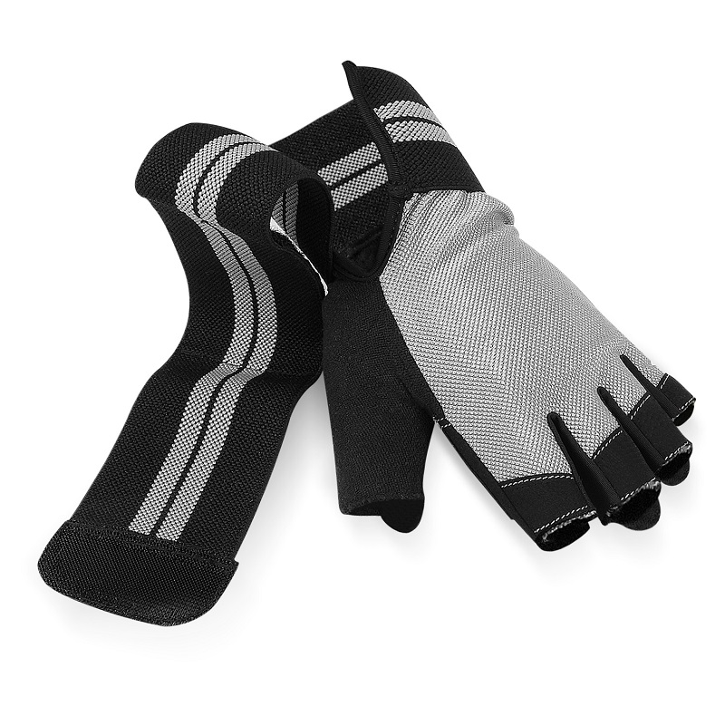 Custom workout vingerloze training gym gewichtheffen handschoenen met wrist wraps