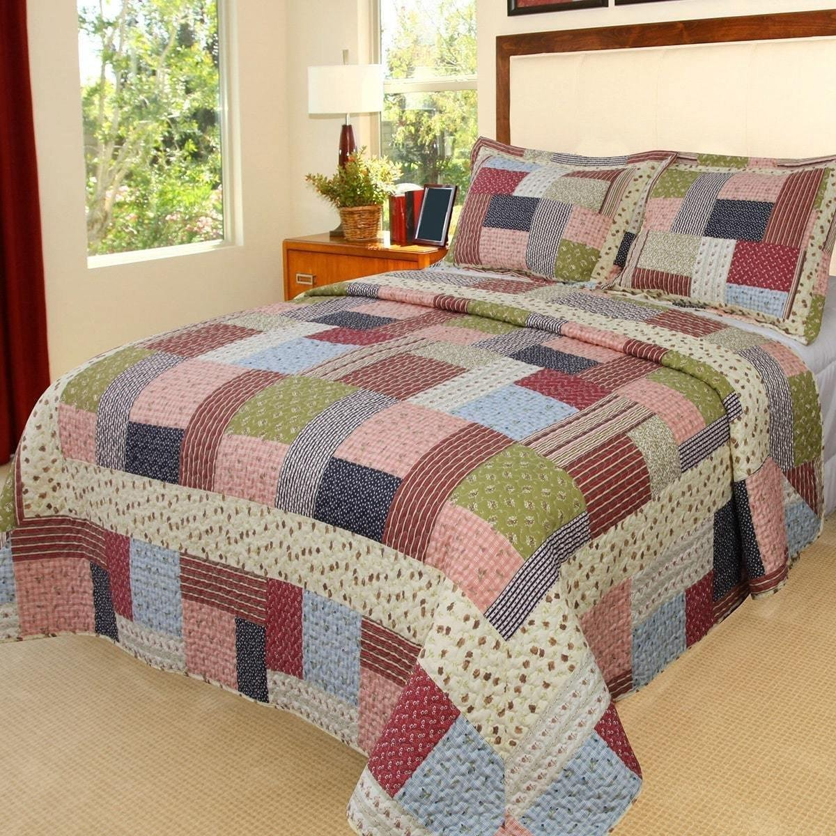 3pc Blue Pink Red Green White Twin Quilt Set, Cotton, Tartan Plaid Patchwork Themed Bedding Cottage Cabin Country Vintage Western Lodge Checkered Shabby Chic Floral Paisley Stripe