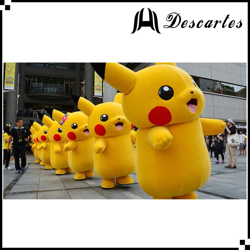 Famous cartoon custom Pikachu plush costume, Pikachu walking costume for adults
