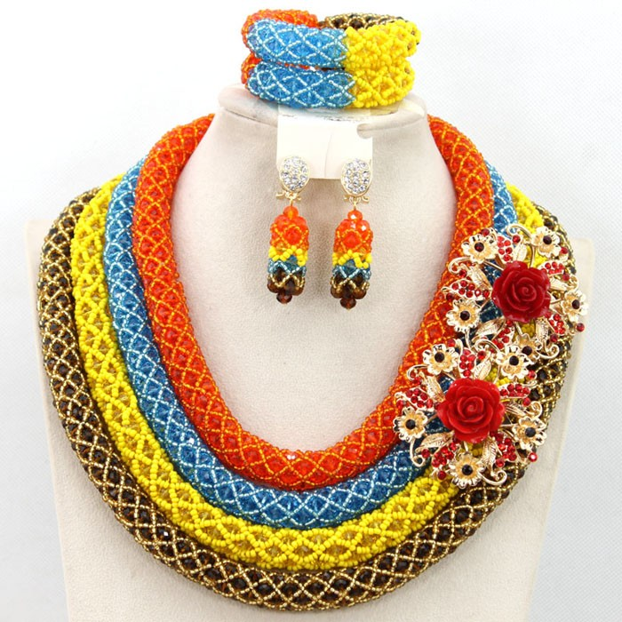 2016 wholesale cheap 4 layers african handmade crystal beads jewelry set nigerian costume necklace jewellery set  sc 1 st  Alibaba Wholesale : handmade costume jewelry  - Germanpascual.Com