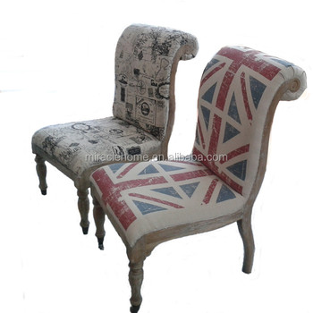 French Style Antique Provincial Fabric Living Room Union Jack Chair With  Wheels
