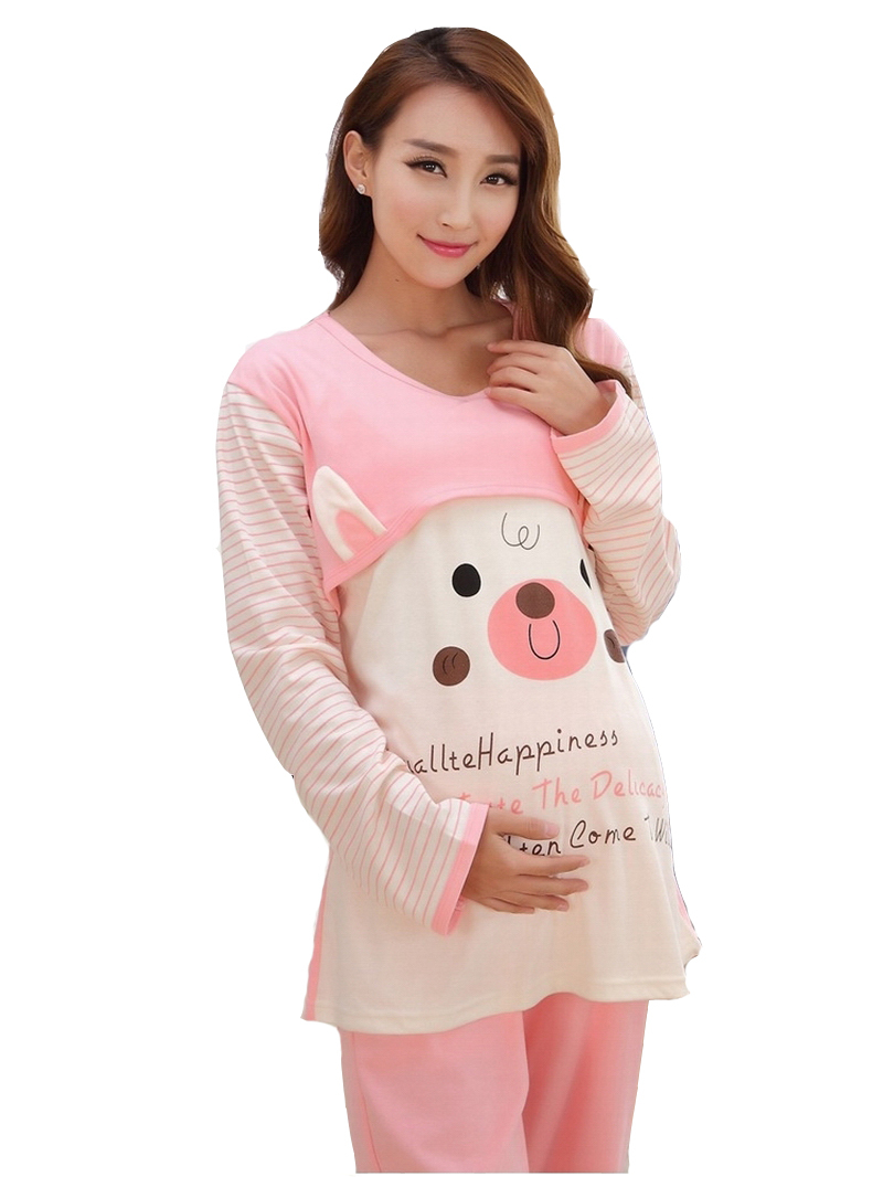 Get Quotations · 2015 Spring Autumn Pregnant Women Pajama Long sleeve Sleepwear  Breast feeding maternity nursing pajamas clothes a3577e897