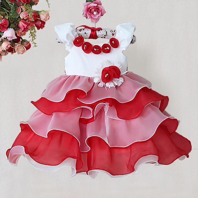 Robe de fille fleur rouge pomme