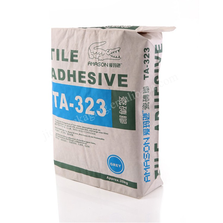 Mehrschicht-Kraftpapier-Vierkantboden-Ventilsackverpackung 20kg Fliesenkleber, Zement, Gipspulver, Mörtel