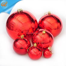 4cm-20cm 6pcs Electroplated bright red big large plastic Christmas balls Christmas tree decoration ball