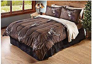 8 Piece Buck Deer Themed Comforter Queen Set, Outdoor Cabin Hunting Bedding, Brown Hunters Pattern, Log Cabin Cottage Style, Outdoor Wildlife Game, Brown