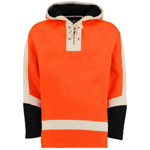 Wholesale custom club training hockey team jersey uniforms sublimation oversize blank hockey hoodies with laces