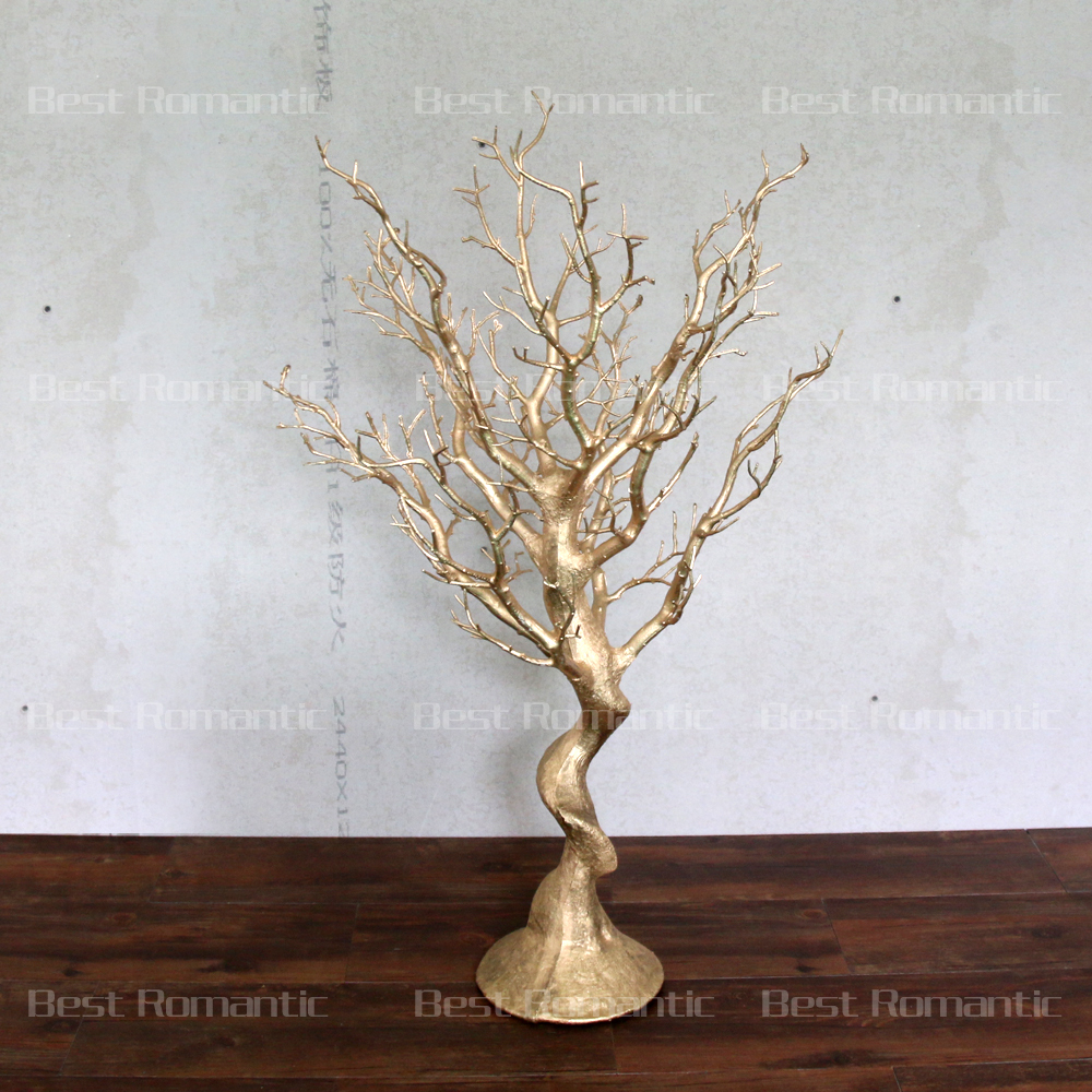Gold dry tree branch for table decoration artificial