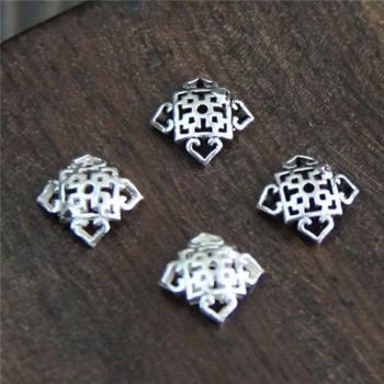 925 Sterling Silver Bead End Caps Square  Vintage Flower Beads Caps Accessories For Making Jewelry
