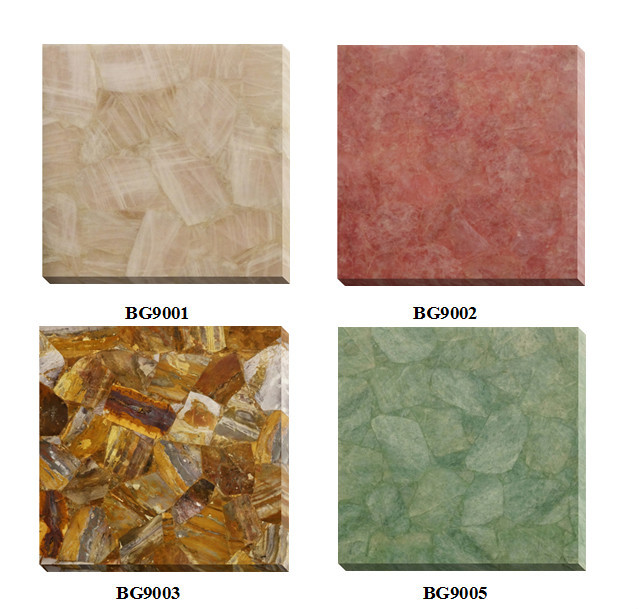 Heat Resistant Pink Gemstone Quartz Countertop Green Quartz Countertop