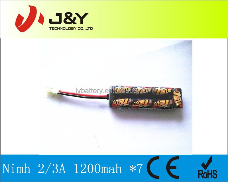 7 cells nimh 1.2v 1200mah rechargeable battery pack for AEG Airsoft Rifle
