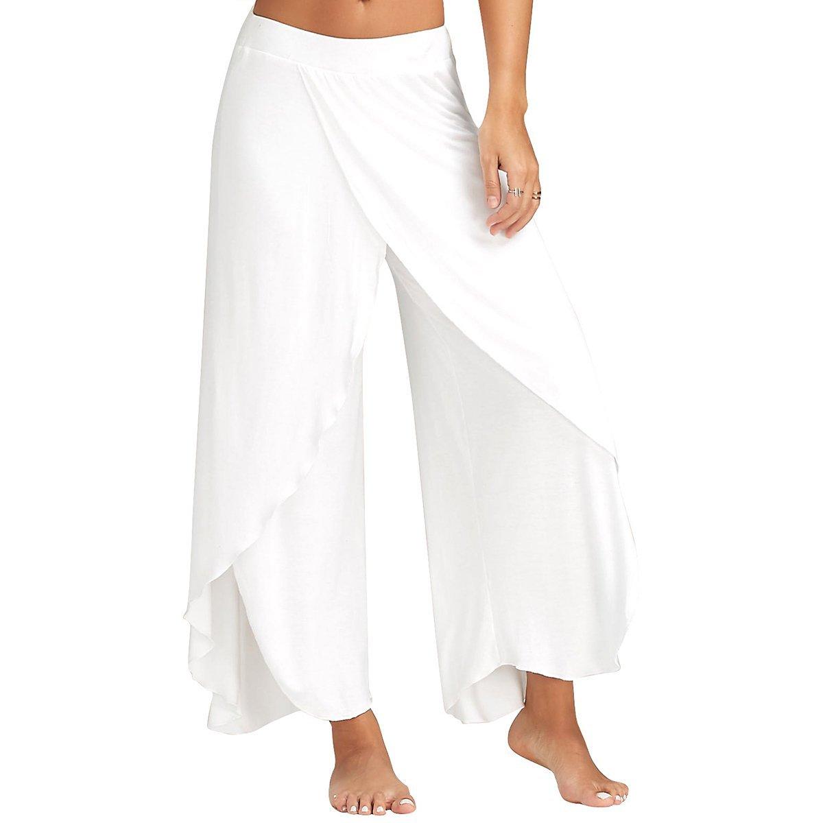 9a01d5adb1d Get Quotations · Zcargel Women s High Waist Slit Wide Leg Yoga Pants  Layered Flowy Cropped Palazzo Pants