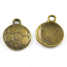 16*16mm Antique Bronze Color Curved Stamped Round Football/Soccer Charms
