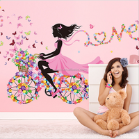 Flower Elf Bicycle Girl Love wall sticker romantic room living room wall decals TV background wall decoration home stickers