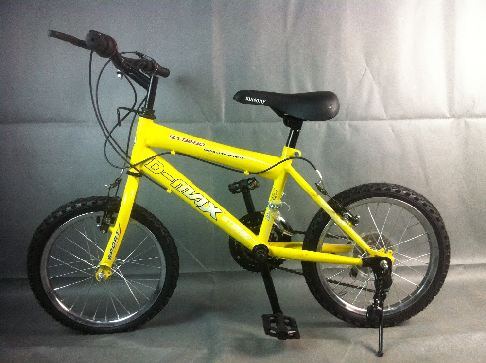 yellow steel frame 12 inch mountain bike with 21speed
