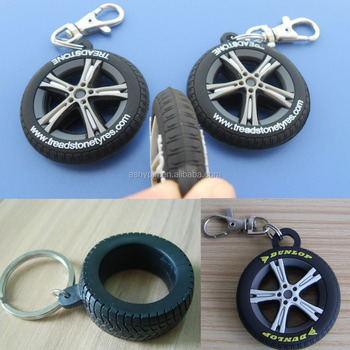 custom black silicone tyre keychains , 3D shape tyre promotion gifts key ring