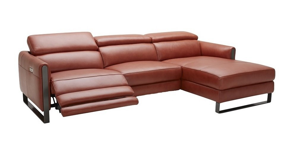 J and M Furniture 182771-RHFC Nina RHF Chaise Ochre Premium Leather Motion Sectional