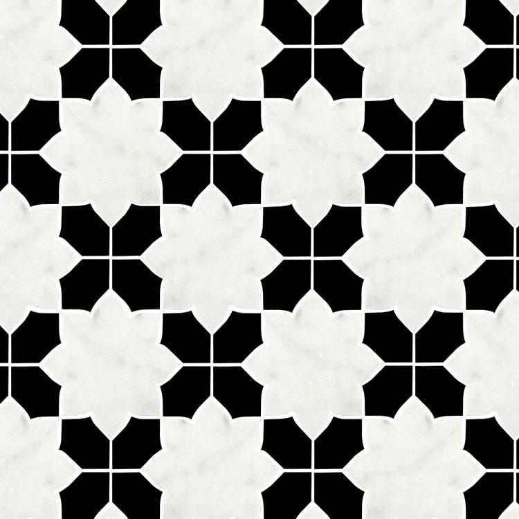 Black White Waterjet Design Mosaic