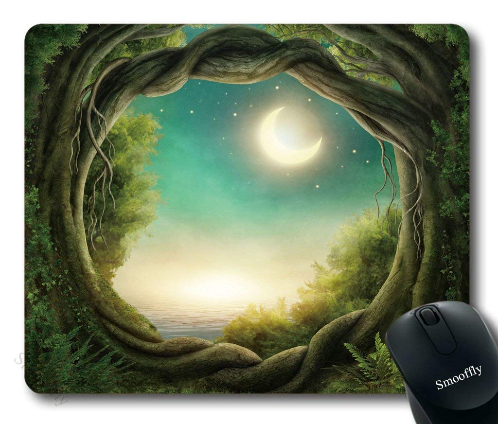 Greenery Trees Mouse Pad By Smooffly,Enchanted Dark Forest in The Moonlight Gaming Mouse Pad