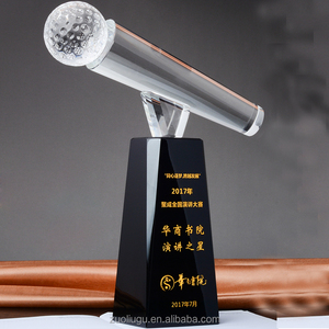 High quality crystal award trophy engraved microphone trophy awards and trophies for convenirs gift