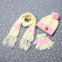 Winter Children Hat Scarf Mittens Set Fashion Knit Baby Kids Beanie Caps Neck Warmers Gloves Suits with Chip Pattern