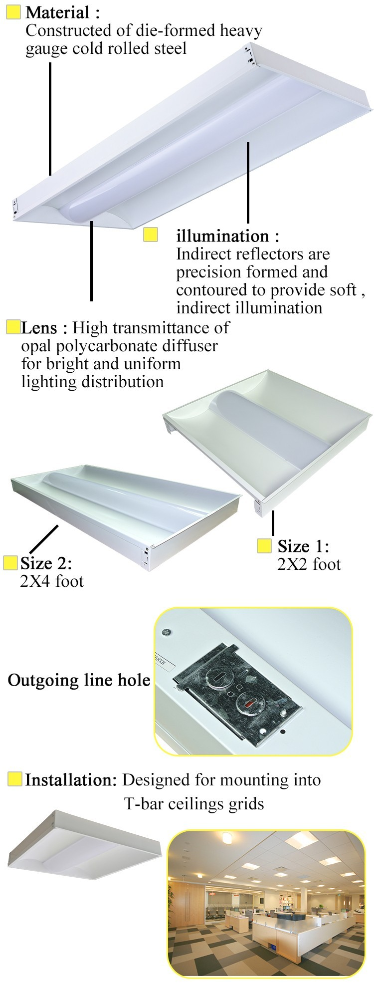 2 X 4 Fixture Clear Led Smd Led Recessed Light Troffer Fixture Buy High Qua