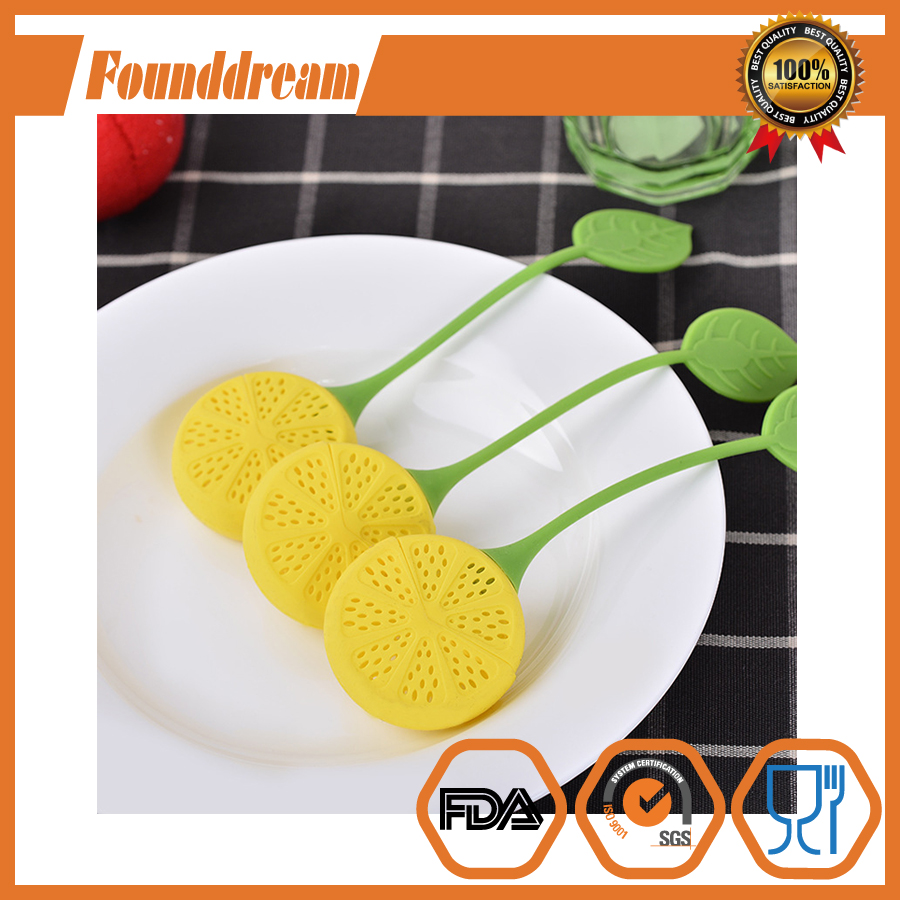 Wholesale price Lemon shape Tea Infuser Silicone Tea Strainers and filter for Loose Leaf Tea Yellow