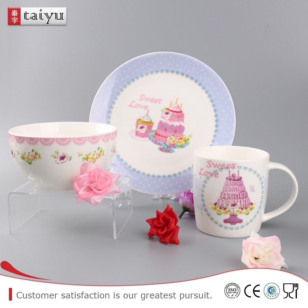customized long service life porcelain 4pcs breakfast set with cute animal design