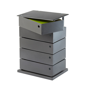 Rotatable Drawer Filing Cabinet 5 Bin Storage Tower Anthracite