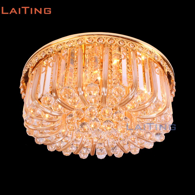 Modern Dia 60cm round led lamp crystal flush mounted ceiling indian light for restaurant