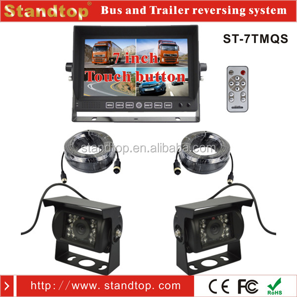 7 inch Quad Monitor and Two pcs 24 volt reverse camera system for Vehicle